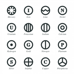 Chemical Element Silhouette Icons   Set 4