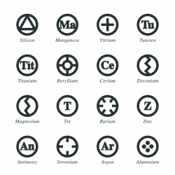 Chemical Element Silhouette Icons | Set 5