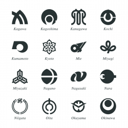 Japanese Prefectures Silhouette Icons   Set 2