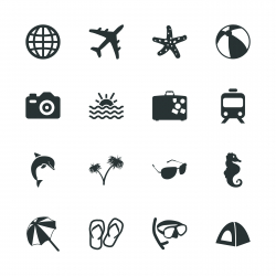 Travel and Vacation Silhouette Icons