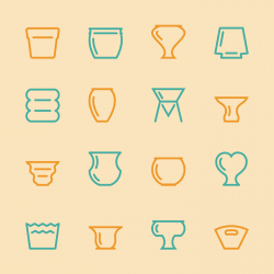 Pot Silhouette Icons - Color Series