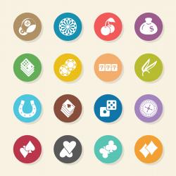 Casino Gambling Icons - Color Circle Series