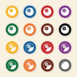 Pool Balls Icons - Color Circle Series