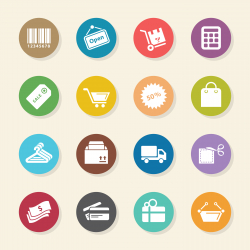 Shopping Icons - Color Circle Series
