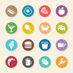 Food and Drink Icons Set 1 - Color Circle Series