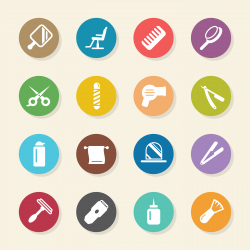 Hair Care Barber Icons - Color Circle Series