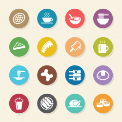 Food and Drink Icons Set 2 - Color Circle Series