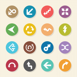 Arrow Sign Icons - Color Circle Series