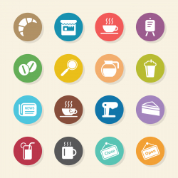 Coffee Shop Icons - Color Circle Series