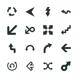 Arrow Sign Silhouette Icons