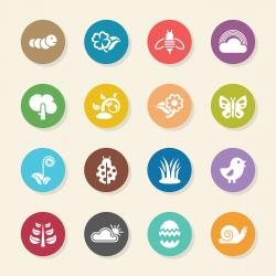 Spring Season Icons - Color Circle Series