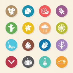 Autumn Season Icons - Color Circle Series