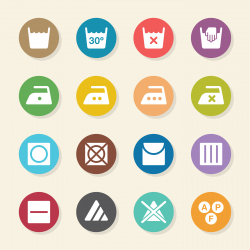 Laundry Sign Icons Set 1 - Color Circle Series