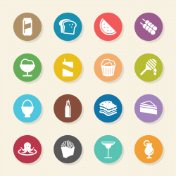 Food and Drink Icons Set 3 - Color Circle Series