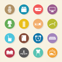 Home Interior Icons - Color Circle Series