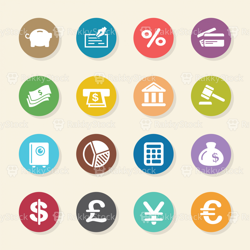 Finance and Banking Icons - Color Circle Series