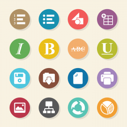 Document Editor Tool Icons - Color Circle Series