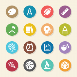 School Icons - Color Circle Series