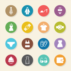 Clothing and Accessories Icons - Color Circle Series