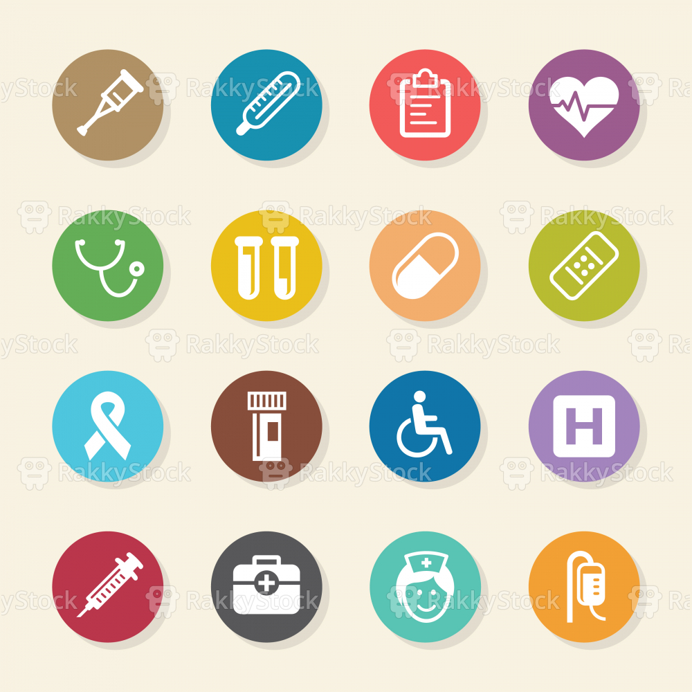 Healthcare and Medicine Icons - Color Circle Series