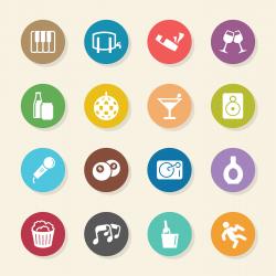 Pub and Bar Icons - Color Circle Series