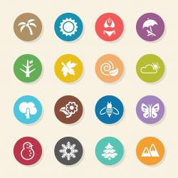 Four Seasons Icons Set 1 - Color Circle Series