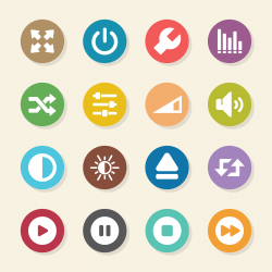 Media Player Icons - Color Circle Series