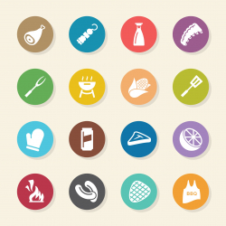 Barbecue Icons - Color Circle Series