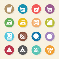 Laundry Sign Icons Set 3 - Color Circle Series