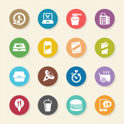 Take Out Food Icons - Color Circle Series