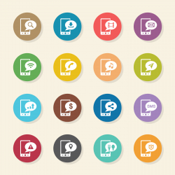 Mobile Phone Icons Set 1 - Color Circle Series