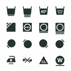 Laundry Sign Silhouette Icons   Set 2