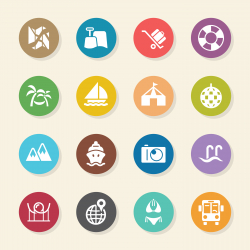 Travel and Vacation Icons Set 3 - Color Circle Series