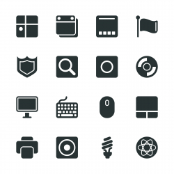 Computer System Silhouette Icons