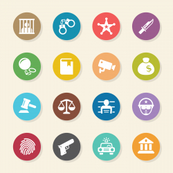 Justice and Law Icons - Color Circle Series