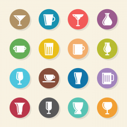 Cup and Glass Icons - Color Circle Series