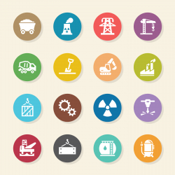 Heavy Industry Icons - Color Circle Series