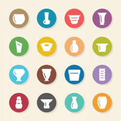 Pot and Vase Icons Set 1 - Color Circle Series