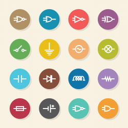 Electronic Circuit Icons - Color Circle Series
