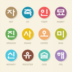 Korean Zodiac Characters Icons - Color Circle Series