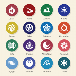 Japanese Prefectures Icons Set 1 - Color Circle Series