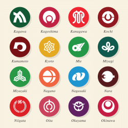 Japanese Prefectures Icons Set 2 - Color Circle Series