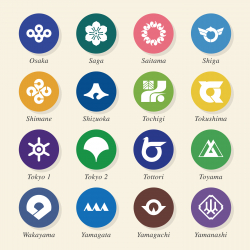 Japanese Prefectures Icons Set 3 - Color Circle Series