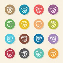Emoticons Set 6 - Color Circle Series