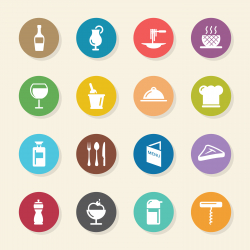Restaurant Icons Set 1 - Color Circle Series