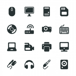Computer Hardware Silhouette Icons