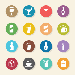 Beverage Icons Set 3 - Color Circle Series