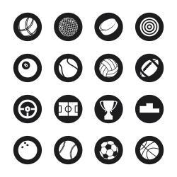 Sports Icons - Black Circle Series