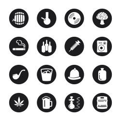 Drunk Party Icons - Black Circle Series