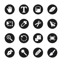 Design Tools Icons - Black Circle Series